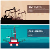 Oil Platform. Sea. Tower Oil exploration. Vector flat illustration. Royalty Free Stock Photography