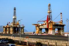 Oil Platform in a Shipyard Stock Photo
