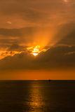 Oil platform silhouette. When sunset Stock Image