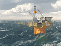 Oil platform in the stormy ocean Stock Photos