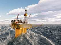 Oil platform in the stormy ocean Royalty Free Stock Image