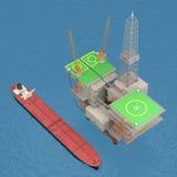 Oil platform with tanker 3d rendering. Oil platform with tankers on the sea. 3d rendering vector illustration