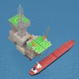 Oil platform with tanker 3d rendering. Oil platform with tankers on the sea. 3d rendering royalty free illustration