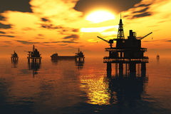 Oil Platform and Tanker in the Sea Sunset 3D rende Royalty Free Stock Images