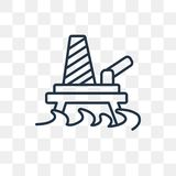 Oil platform vector icon isolated on transparent background, lin royalty free illustration