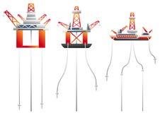 Oil platform Vector set stock illustration