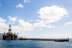 Oil platform. View on the Mediterranean sea of the Canaries Stock Photo