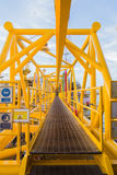 Oil platform yellow color. In the sea Stock Image