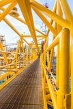 Oil platform yellow color. In the sea Stock Photos