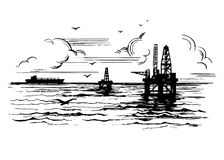 Oil platforms on the background of the sea. Landscape with clouds and seagulls. Hand drawn sketch illustration royalty free illustration