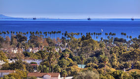 Oil Platforms Houses Buildings Pacific Ocean Santa Barbara California Royalty Free Stock Photo