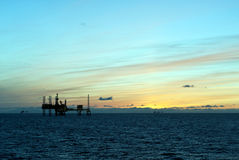 Oil platforms in North Sea. Oil platform in the North Sea outside Danish coast Stock Images