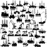 Oil platforms and oil pumps Stock Photos