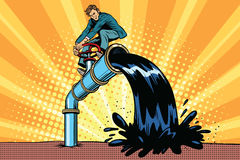 Oil is polluting, businessman on the tube. Pop art retro comic book vector illustration. Ecology and saving nature Stock Images