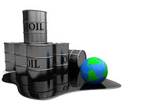 Oil pollution. Abstract 3d illustration of oil pollution of earth globe vector illustration