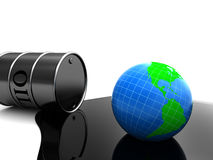 Oil pollution. 3d illustration of oil barrell with earth globe, over white background vector illustration