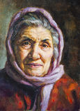 Oil portrait of a grandmother with her scarf Stock Photo