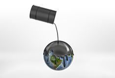 Oil pouring from the black barrels on the Globe Earth for contaminating. Stock Image