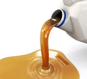 Oil pouring from the canister Stock Photo