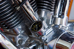 Oil pressure gauge on motorcycle engine Royalty Free Stock Photo