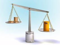 Oil price. Coins and oil drum on a balance. Digital illustration Stock Images