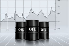 Oil price analysis. Oil barrel with graph price analysis royalty free illustration