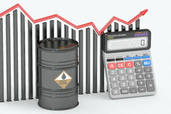 Oil price concept, chart with calculator and oil barrel.. 3D rendering Royalty Free Stock Image