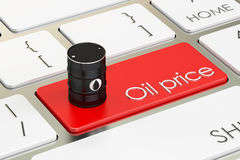 Oil price concept on the keyboard button, 3D rendering. Oil price concept on the keyboard button Stock Image