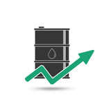 Oil price concept. Oil and arrow growing up icon. Stock Images