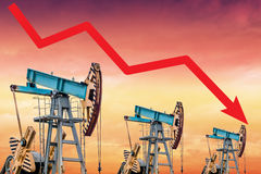 Oil price crisis. Oil price fall graph illustration. Royalty Free Stock Photo