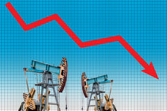 Oil price crisis. Oil price fall graph illustration. Royalty Free Stock Images