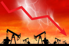 Oil price crisis. Oil price fall graph illustration. Stock Image