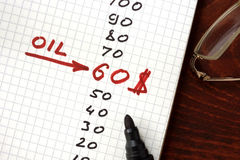 Oil price 60 dollars in a notepad. Royalty Free Stock Photos