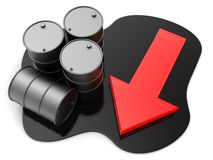 Oil price drop. 3d illustration of oil barrels and red arrow, price drop concept Royalty Free Stock Photos