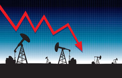 Oil price fall graph illustration on oil pump field at dawn background Stock Image