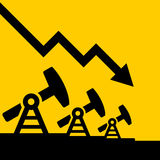 Oil Price Fall Graph. Vector Royalty Free Stock Photography