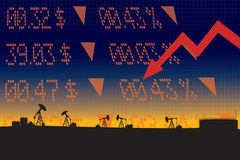 Oil price fall illustration with red down arrow. Stock market display numbers ,oil refinery landscape silhouettes Royalty Free Stock Photo