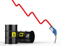 Oil price falling concept. With 3d rendering red graph, blue nozzle and black barrels Stock Photography