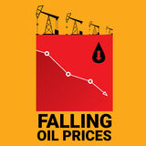 Oil price falling down graph illustration. vector Stock Image