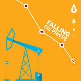 Oil price falling down graph illustration. vector Stock Images