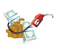 Oil prices concept with a gas pump nozzle Royalty Free Stock Photos