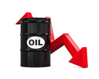 Oil Prices Dropping Illustration. Isolated on white background. 3D render vector illustration
