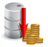Oil prices falling illustration design concept Royalty Free Stock Image