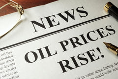 Oil prices rise. Newspaper with header news and Oil prices rise Royalty Free Stock Photos