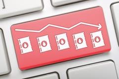 Oil prices trend key on keyboard Stock Photos