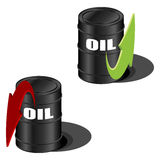 Oil prices up and down. Oil prices with up and down arrow over white Royalty Free Stock Photography