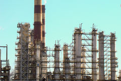 Oil-processing plant. Complex structures and pipe oil-processing plant Royalty Free Stock Photography