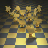 Oil producing nations on chessboard background Stock Photo