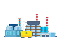 Oil producing plant, with storage of production products in tanks. Royalty Free Stock Photography