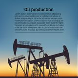 Oil producing Rig silouette. Black pictogram on color background. Vector illustration with text stock illustration